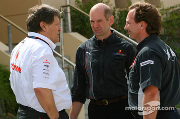 Norbert Haug, Mercedes, Motorsport chief, Adrian Newey, Red Bull Racing, Technical Operations Director and Christian Horner, Red Bull Racing, Sporting Director