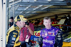 Matt Kenseth and Jeff Burton wait out the rain delay