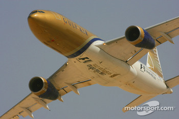 Gulf Air airliner flies past
