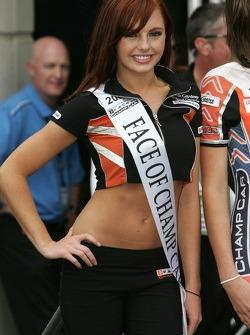 Podium: the lovely 'Face of Champ Car' girl