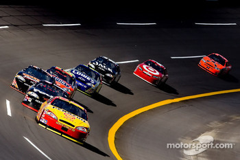 Ryan Newman leads a group of cars