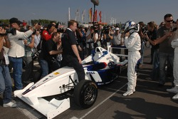 Nick Heidfeld takes a practice lap with a Formula BMW car