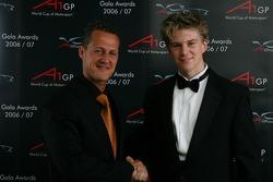 Michael Schumacher with A1 Team Germany championshhip winner driver Nico Hulkenberg