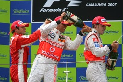 Podium: champagne for Felipe Massa, Lewis Hamilton and Fernando Alonso