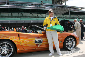 Local radio personality Terri Stacy gets a pace car ride