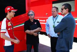Esteban Gutierrez and Gene Haas and Joe Custer, Stewart Haas Racing Vice President and Gunther Steiner