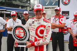 Scott Dixon, Chip Ganassi Racing celebrates pole position