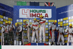 Podium: race winners Tristan Gommendy, Pierre Thiriet, Ludovic Badey, second place Mark Patterson, Nathanael Berthon, Michael Lyons, third place Simon Dolan, Filipe Albuquerque, Harry Tincknell