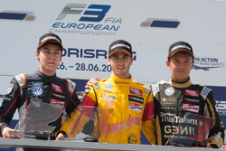 Race 3 Podium: second place George Russell, Carlin and winner Antonio Giovinazzi, Jagonya Ayam with Carlin and third place Alexander Albon, Signature