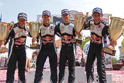 Winners Sébastien Ogier and Julien Ingrassia, Volkswagen Polo WRC, Volkswagen Motorsport, second place Andreas Mikkelsen and Ola Floene, Volkswagen Polo WRC, Volkswagen Motorsport