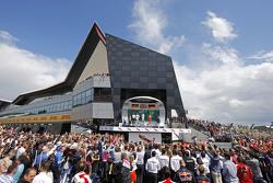 The podium,: Nico Rosberg, Mercedes AMG F1, second; Lewis Hamilton, Mercedes AMG F1, race winner; Sebastian Vettel, Ferrari, third