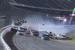Austin Dillon, Richard Childress Racing Chevrolet crashes into the catchfence