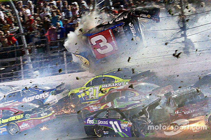 1. Austin Dillon, Richard Childress Racing Chevrolet in huge crash at the finish