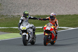 Second place Dani Pedrosa, Repsol Honda Team is congratulated by Cal Crutchlow, Team LCR Honda