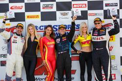 Podium: Race winner Kris Wilson, second place Jack Baldwin, and third place Dean Martin