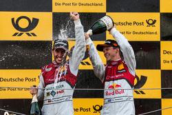 Podium: Mike Rockenfeller, Audi Sport Team Phoenix Audi RS 5 DTM and Mattias Ekström, Audi Sport Team Abt Sportsline, Audi A5 DTM