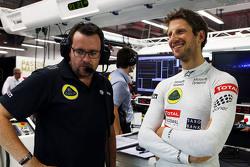 Romain Grosjean, Lotus F1 Team met ingenieur Julien Simon-Chautemps
