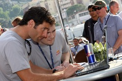Mark Webber, Red Bull Racing, at the opening of a charity event to give fans the chance to have their picture on the Red Bull Racing F1 Car, at the British Grand Prix