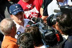 Robert Kubica, BMW Sauber F1 Team, talks to the media