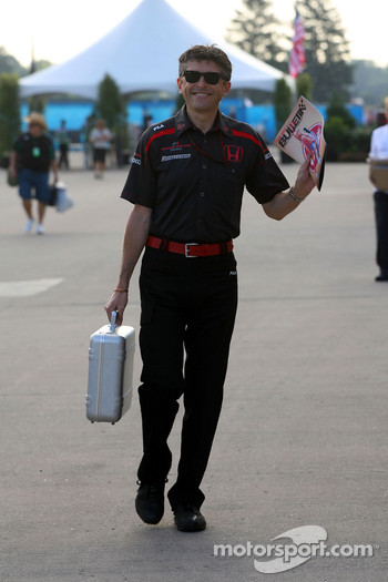Nick Fry, Honda Racing F1 Team, Chief Executive Officer arrives at the track and reads The Red Bulletin