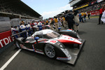 The pole car Team Peugeot Total Peugeot 908 on the starting grid
