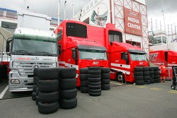 McLaren Mercedes trucks and Scuderia Ferrari trucks