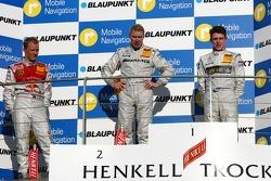 Podium: Mika Hakkinen, Team HWA AMG Mercedes, Mattias Ekström, Audi Sport Team Abt Sportsline, Paul di Resta, Persson Motorsport AMG Mercedes