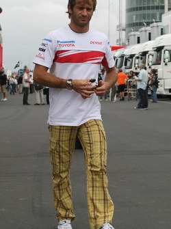 Jarno Trulli, Toyota Racing, wears an interesting pair of trousers
