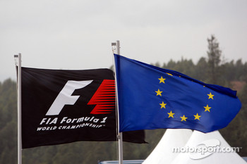 Flags of FIA Formula 1 World Championship and the Europe flag