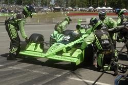 Scott Sharp pit stop more wing adjustment