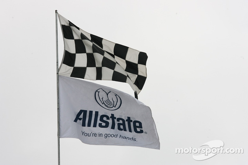 The Allstate and checkered flag flying high on Allstate 400 practice day