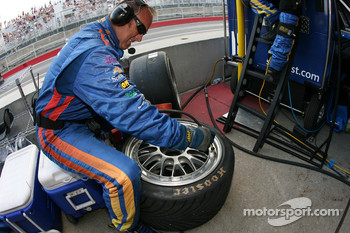 SunTrust Racing team member prepares the rain tires, just in case