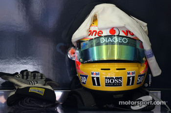 Lewis Hamilton, McLaren Mercedes, helmet and gloves