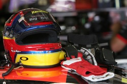 Juan Pablo Montoya's helmet and gloves