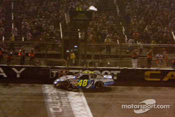 Jimmie Johnson takes the white flag