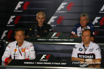 FIA press conference: Geoff Willis, Red Bull Racing, Technical Director, Pat Symonds, Renault F1 Team, Executive Director of Engineering, Mario Almondo, Scuderia Ferrari, Technical Director and Willy Rampf, BMW-Sauber, Technical Director