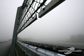 Safety car on foggy track