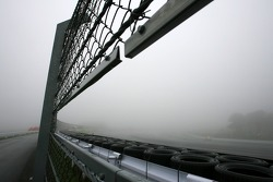Safety car on foggy track