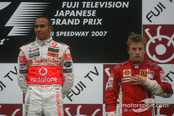 Podium: race winner Lewis Hamilton and Kimi Raikkonen