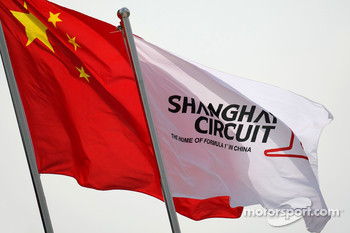 Chinese flag and Shanghai Circuit flag