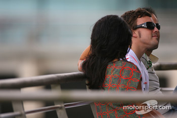 Fernando Alonso, McLaren Mercedes and his wife, Raquel Rosario