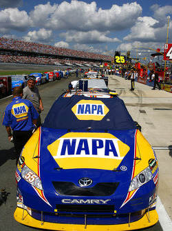 Michael Waltrip's NAPA Toyota sits at the front of the field as pre race festivities begin