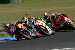 Dani Pedrosa leads Valentino Rossi and Loris Capirossi