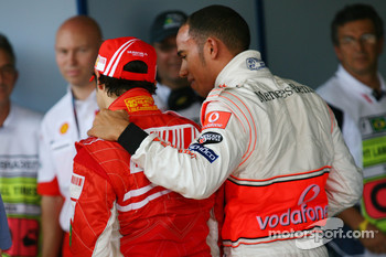 Pole winner Felipe Massa with second place Lewis Hamilton