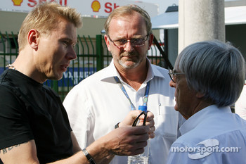 Bernie Ecclestone and Mika Hakkinen, Former Formula One world champion