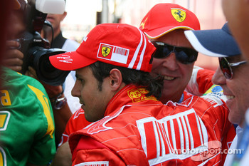 Felipe Massa, Scuderia Ferrari, celebrates with his father