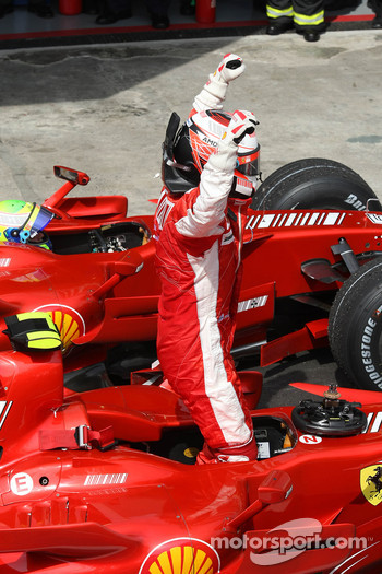 Race winner and 2007 World Champion Kimi Raikkonen celebrates
