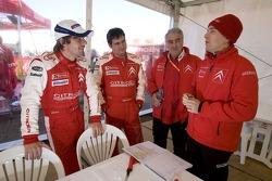 Sébastien Loeb, Daniel Elena and Guy Fréquelin at Citroen Total WRT hospitality area