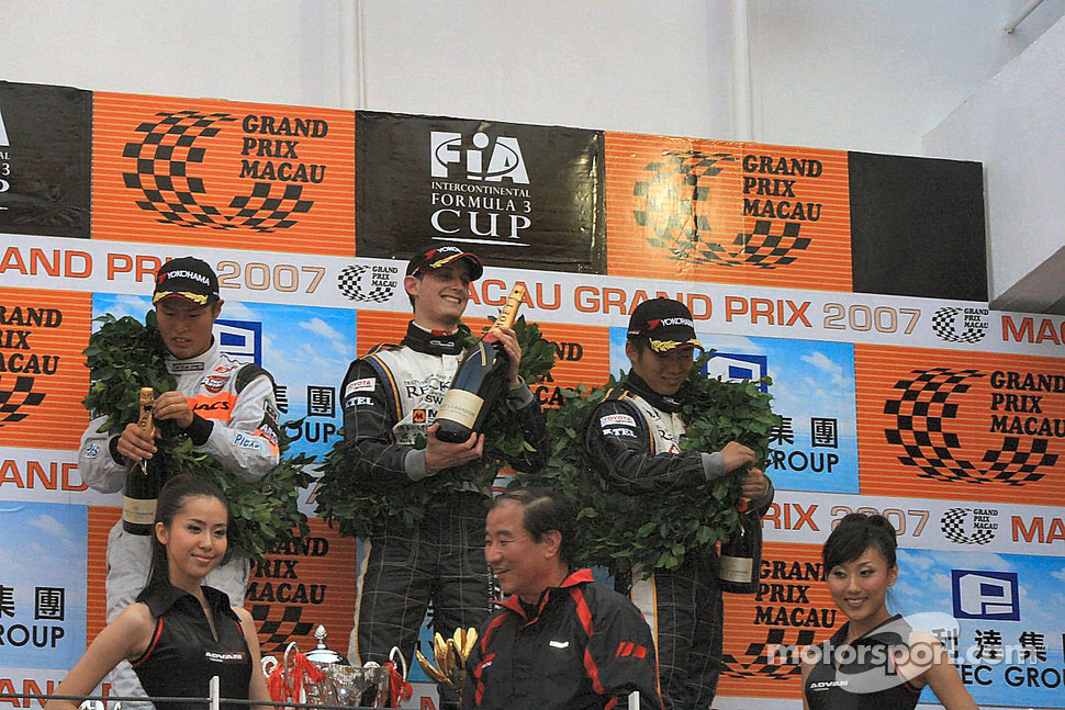 The top three opening the champagne