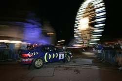 Jimmy McRae drives Colin McRae's Subaru Legacy 555 in front of the fans before the start